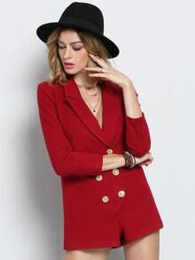 Red Lapel With Button Jumpsuit