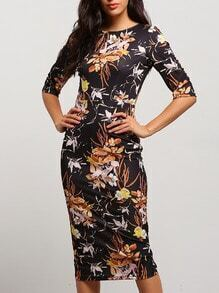 Black Half Sleeve Floral Dress