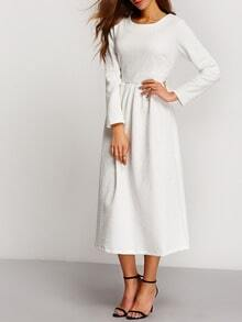 White Long Sleeve Embossed Flare Dress