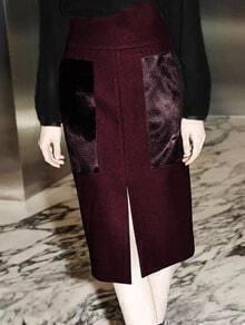 Burgundy Pockets Slit Front Skirt