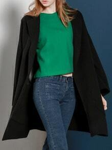 Black Lapel Long Dolman Coat