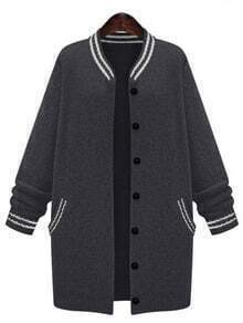 Black Striped Buttons Long Coat
