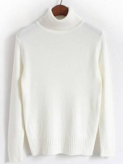 White Turtleneck Long Sleeve Slim Sweater