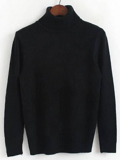 Black Turtleneck Long Sleeve Slim Sweater