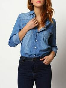 Blue Lapel Pockets Buttons Denim Blouse