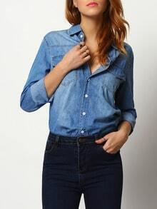 Blue Lapel Pockets Buttons Denim Blouse