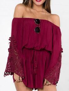Burgundy Off The Shoulder Lace Crochet Hollow Romper