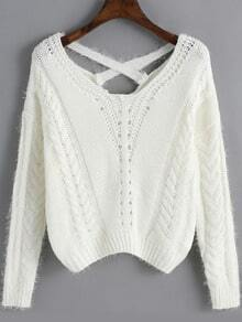 White Cross Back Hollow Crop Sweater
