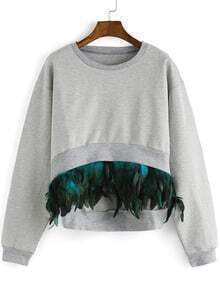 Grey Round Neck Feather Embellished Dip Hem Sweatshirt
