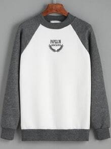 Colour-block Round Neck Letters Print Sweatshirt