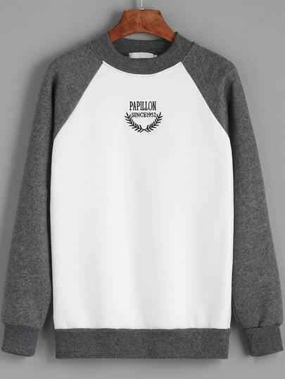 Sweat-shirt imprimé lettres col rond color-block
