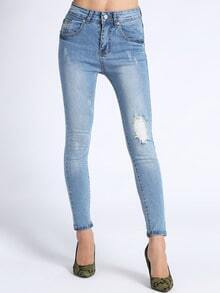 Blue Skinny Bleached Ripped Denim Pant