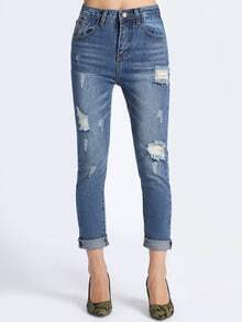 Blue Bleached Ripped Loose Denim Pant