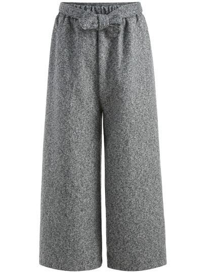 Grey Knotted Wide Leg Pant