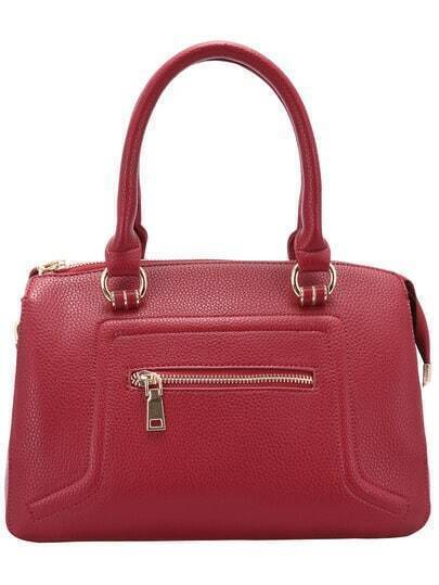 Red Zipper PU Tote Bag