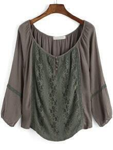 Army Green Long Sleeve Lace Loose Blouse