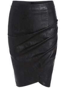Black Slim Pleated PU Skirt