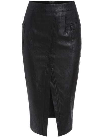 Black Slim Split PU Skirt