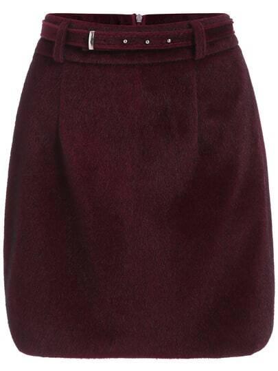 Burgundy A Line Mohair Skirt