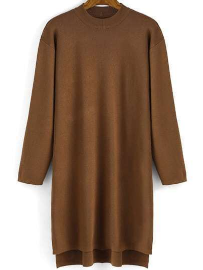Khaki Crew Neck Loose Knit Dress