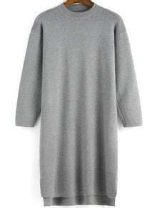 Grey Crew Neck Loose Knit Dress