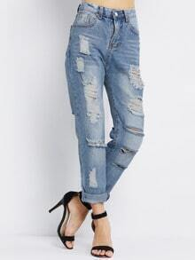 Ripped Denim Loose Pant