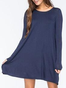 Long Sleeve Shift Blue Dress