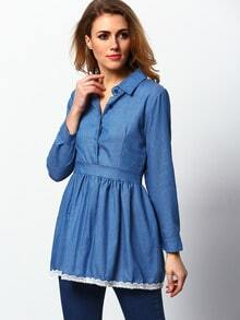 Lapel Contrast Hem Denim Shirt A-Line Dress