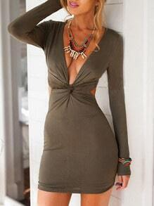 Deep Plunge Neck Knotted Open Back Army Green Dress
