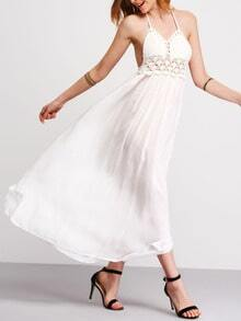 Halter Backless Lace Insert Maxi Dress