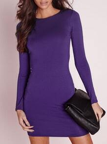 Long Sleeve Bodycon Purple Dress
