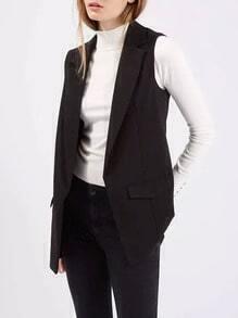 Black Notch Lapel Slim Vest