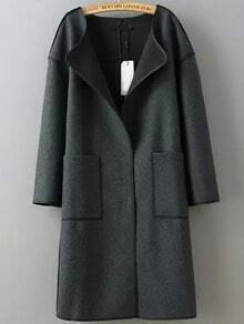 Grey Long Sleeve Contrast Trims Pockets Coat