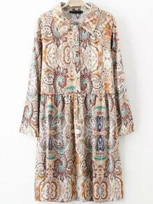 Multicolor Lapel Long Sleeve Vintage Floral Dress