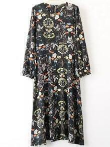 Multicolor Puff Sleeve Round Neck Floral Dress