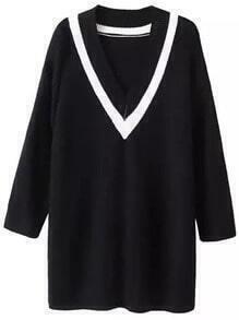 Black Contrast V Neck Loose Sweater Dress