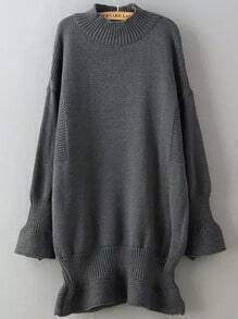 Grey Bell Sleeve Loose Sweater Dress