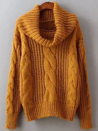 Yellow High Neck Cable Knit Sweater