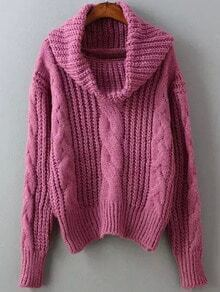 Rose Red High Neck Cable Knit Sweater