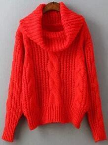 Red High Neck Cable Knit Sweater