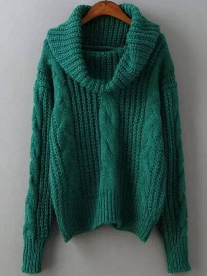 Green High Neck Cable Knit Sweater