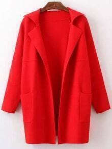 Red Lapel Long Sleeve Pockets Sweater Coat