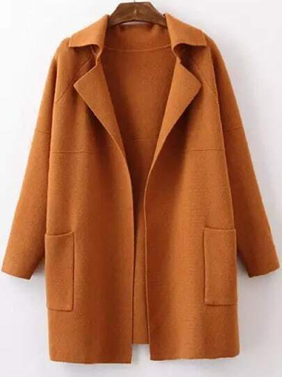 Khaki Lapel Long Sleeve Pockets Sweater Coat