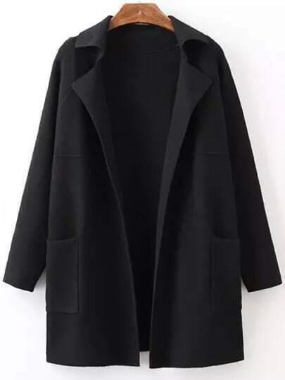 Black Lapel Long Sleeve Pockets Sweater Coat