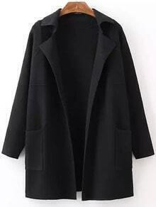 Black Lapel Long Sleeve Pockets Sweater Coat
