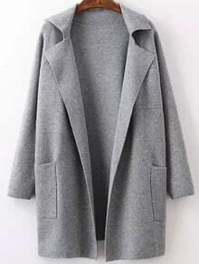 Grey Lapel Long Sleeve Pockets Sweater Coat