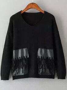 Black V Neck Contrast PU Leather Tassel Knitwear