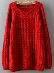 Red Round Neck Cable Knit Loose Sweater