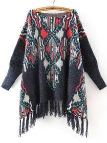Multicolor Batwing Sleeve Tassel Sweater