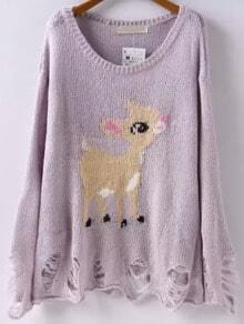 Light Purple Round Neck Deer Pattern Ripped Sweater